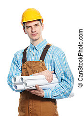 worker in hardhat and overall with drafts