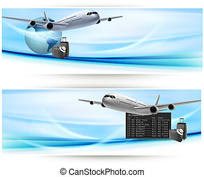 Two travel banners with with airplane on blue sky. Travel...