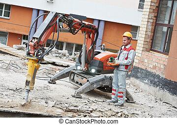 construtor, trabalhador, operando, Demolição,...