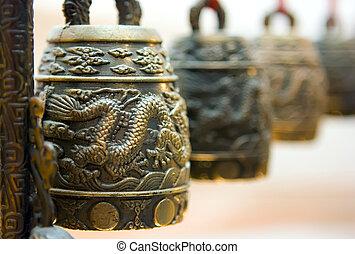 Tibet bells - Four antique tibet bells with illustrated...