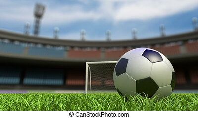 Football background, soccer ball on the grass at stadium 3d...