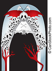 Entrance to the kingdom of death - eps10 vector illustration...