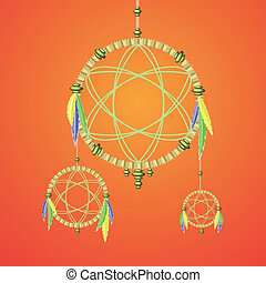 dream catcher - colorful illustration with dream catcher for...