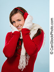 Woman and woolen outfit