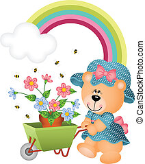 Teddy bear in the garden - Scalable vectorial image...