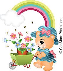 Teddy bear in the garden - Scalable vectorial image...