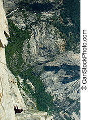 Rock climber climbing a rock, Half Dome, Yosemite Valley,...