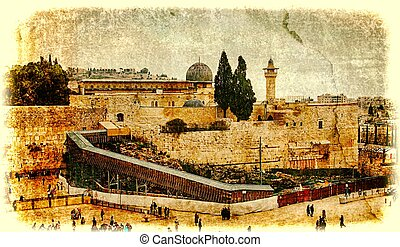Western Wall,Temple Mount, Jerusalem.Photo in old color...