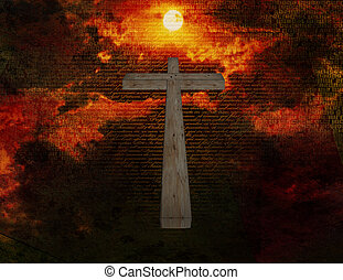 The Christ - Cross floats in space with new testament latin...