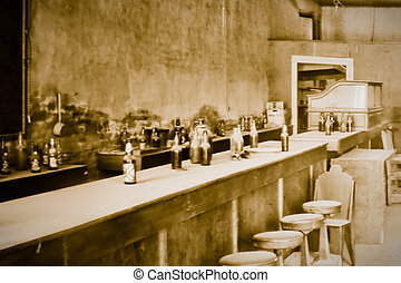 Interiors of a bar at a ghost town, Bodie Ghost Town, Bodie...