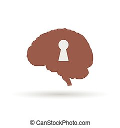 keyhole on the brain vector illustration