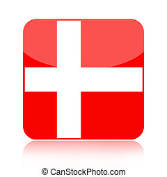 Denmark flag icon - Danish glossy icon isolated over white...