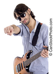 young guitarist with pointing finger against white...