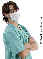 doctor in scrubs and facemask isolated on white background