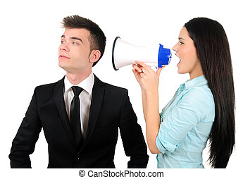 Isolated business couple - Isolated young business couple...