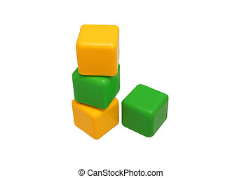 Children's toy blocks set against each other. Yellow and...