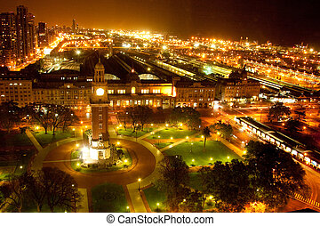 Clock tower at night - Torre Monumental lit up at night,...