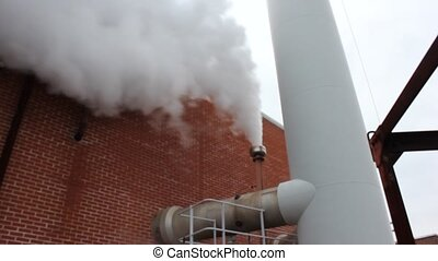Steam - Boilerhouse blowdown vessel venting steam while...