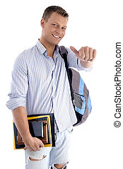 college student with books and backpack on an isolated white...