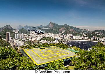 Heliport, Botafogo bay, Rio de Janeiro, Brazil - View of...