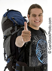 young traveler with backpack against white background