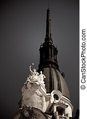 Architectural details of a building - Statues on the top of...