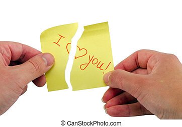 hand burst stick paper phrase I love you heart - man and...
