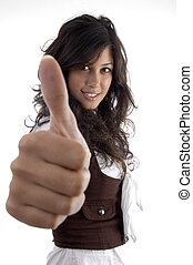 young model with thumbs up hand gesture