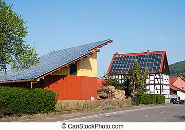 Grange with solar panels