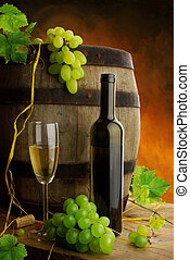 Wine still life with grapes and barrel - White wine still...
