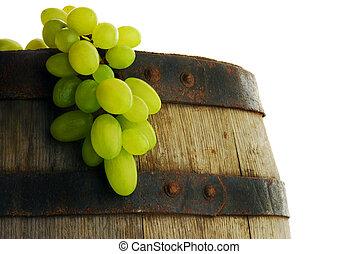 Grape and wine barrel