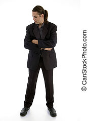 standing businessman with folded hands