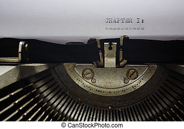 Old typewriter - A Closeup image of the typebars and ribbon...