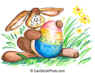 Easter bunny with colorful easter egg.