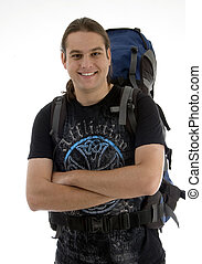 handsome guy ready for outing with backpack on an isolated...