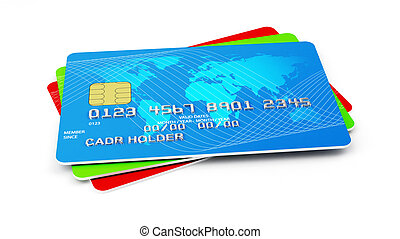 credit cards stack - 3d illustration of credit cards stack....