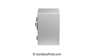Bank safe with digital lock, rotates on white background