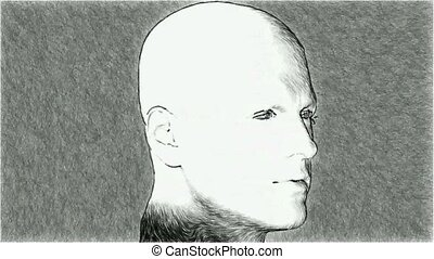 Sketch of a man 3d illustration Rotating head human figure...