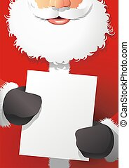 Santa Claus hold the poster Happy Holidays