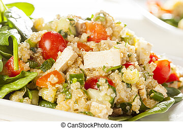 Organic Vegan Quinoa with vegetables like tomato, tofu, and...