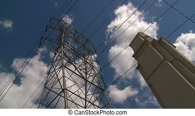 Power Lines - Clouds moving over power lines