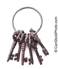 tas, antiquité, clés, isolé, blanc
