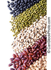 background with different legumes on white