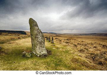posición, piedras, Dartmoor