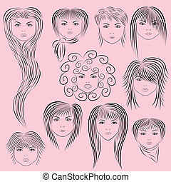 Female Hairstyles Vector Illustration - Samples of female...
