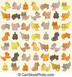 Set Of Kittens. Vector Illustration - Set of various small...