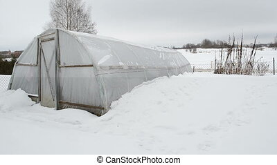 greenhouse snow garden - panorama view of wooden diy...