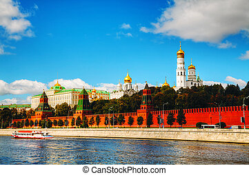 Panoramic overview of downtown Moscow with Kremlin on a...