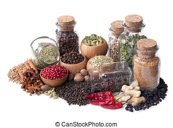 still life of different spices and herbs isolated on white...