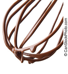 whisk with melted chocolate over white background